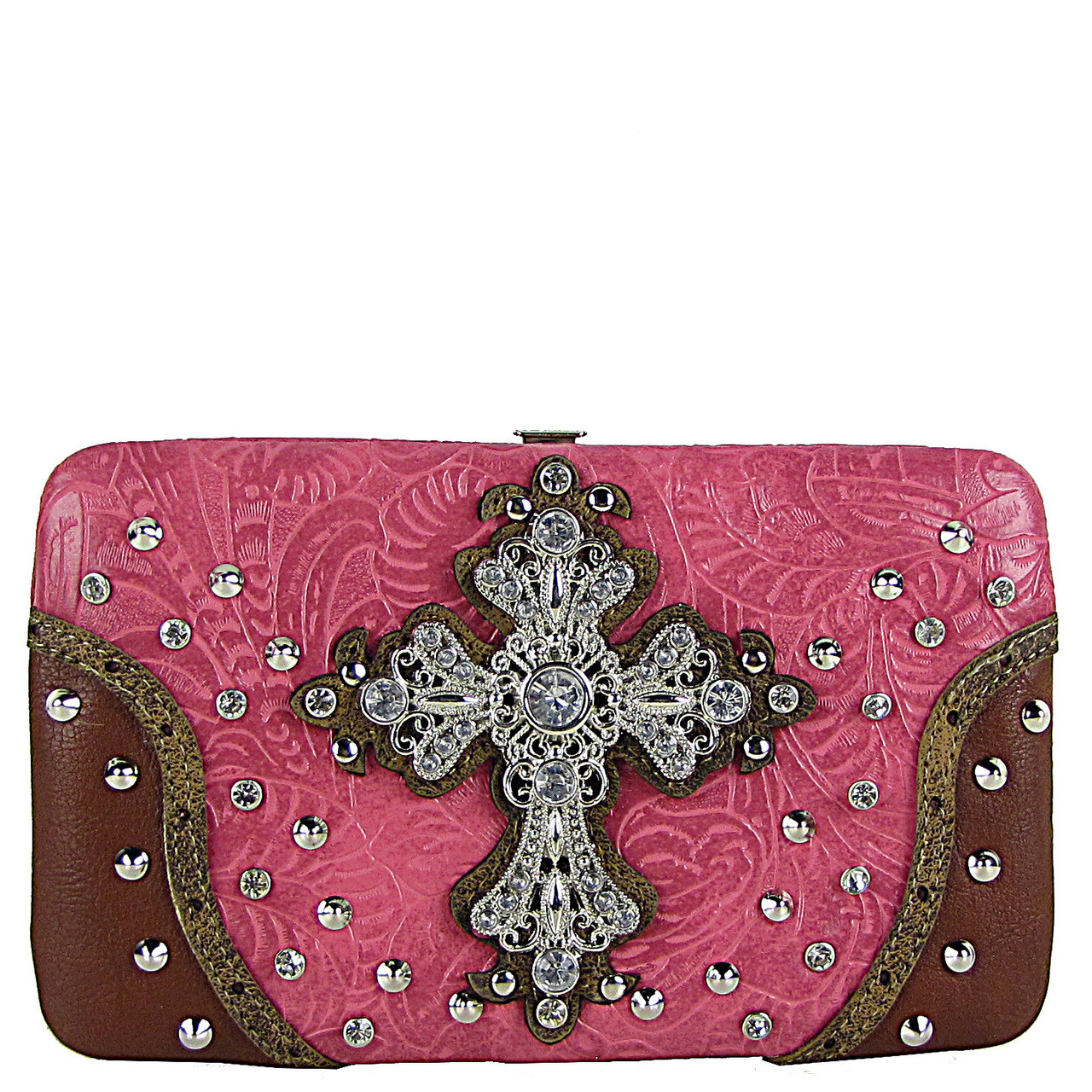 HOT PINK RHINESTONE STUDDED CROSS FLAT THICK WALLET FW2-04115HPK