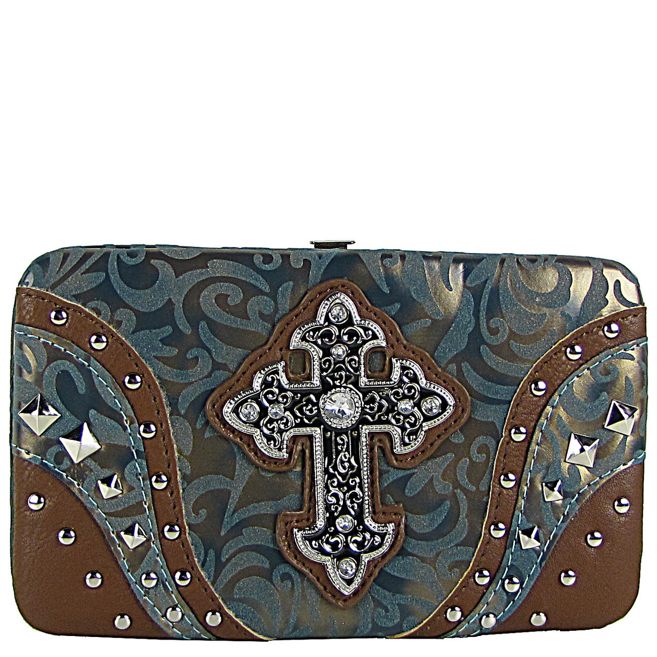 TEAL STUDDED RHINESTONE TOOLED CROSS LOOK FLAT THICK WALLET FW2-04113TEL