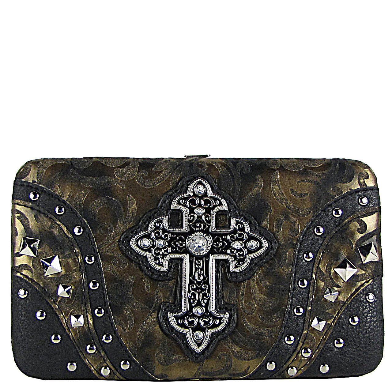 BLACK STUDDED RHINESTONE TOOLED CROSS LOOK FLAT THICK WALLET FW2-04113BLK