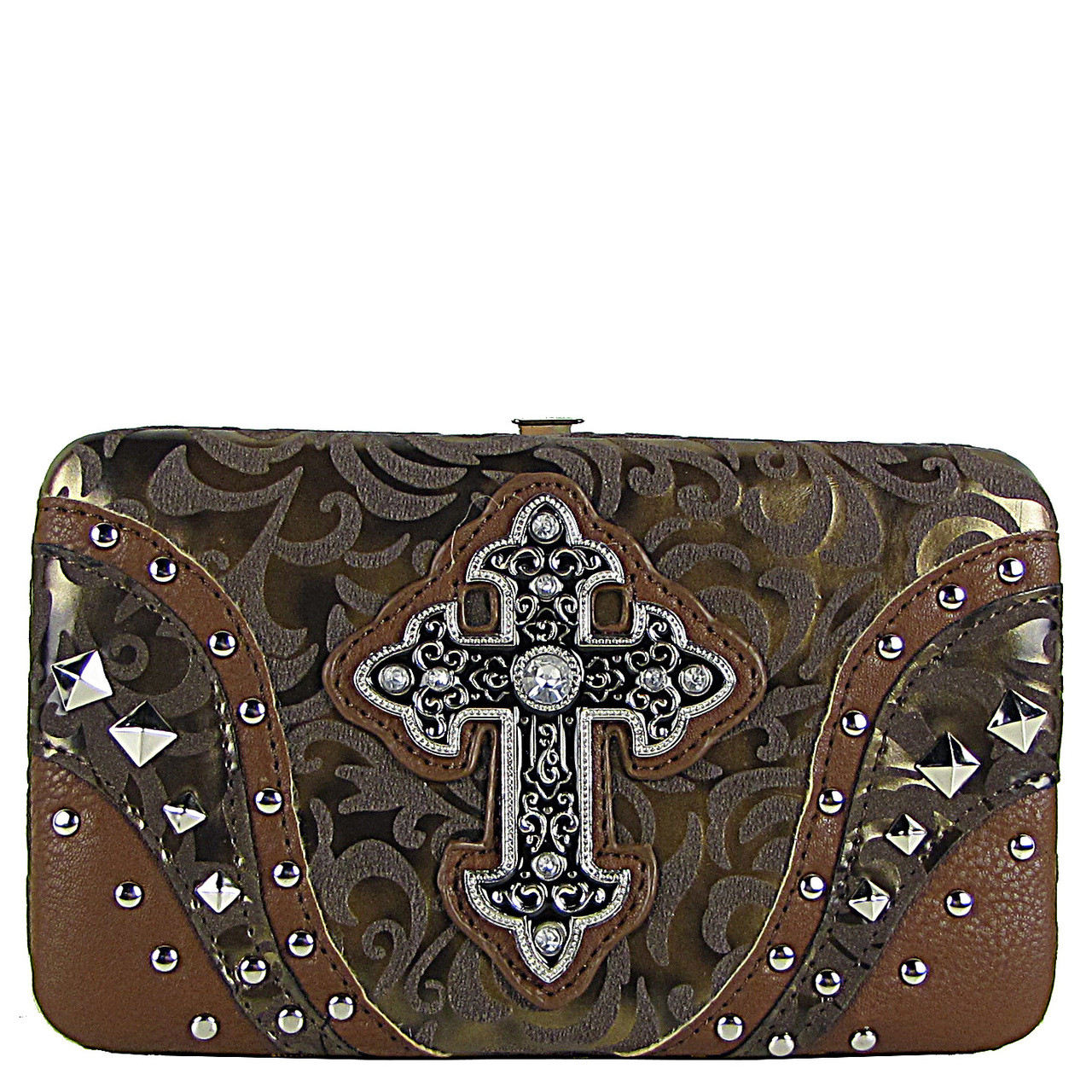 BROWN STUDDED RHINESTONE TOOLED CROSS LOOK FLAT THICK WALLET FW2-04113BRN