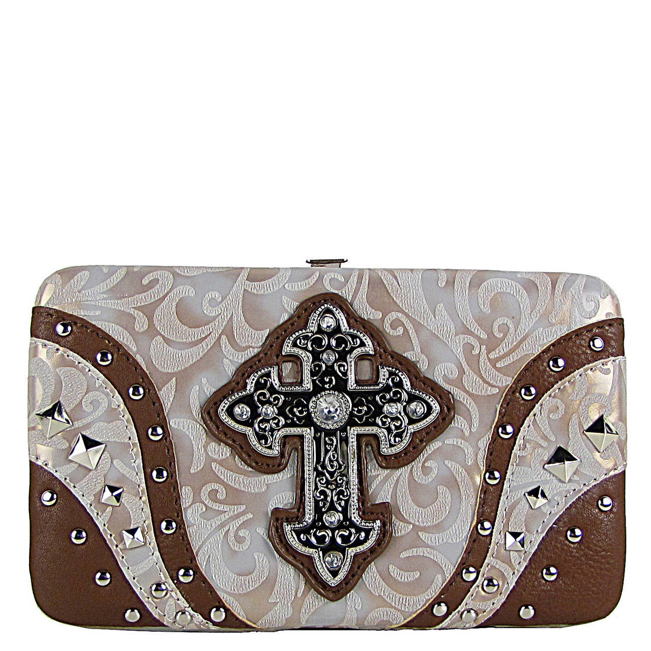 BEIGE STUDDED RHINESTONE TOOLED CROSS LOOK FLAT THICK WALLET FW2-04113BEI