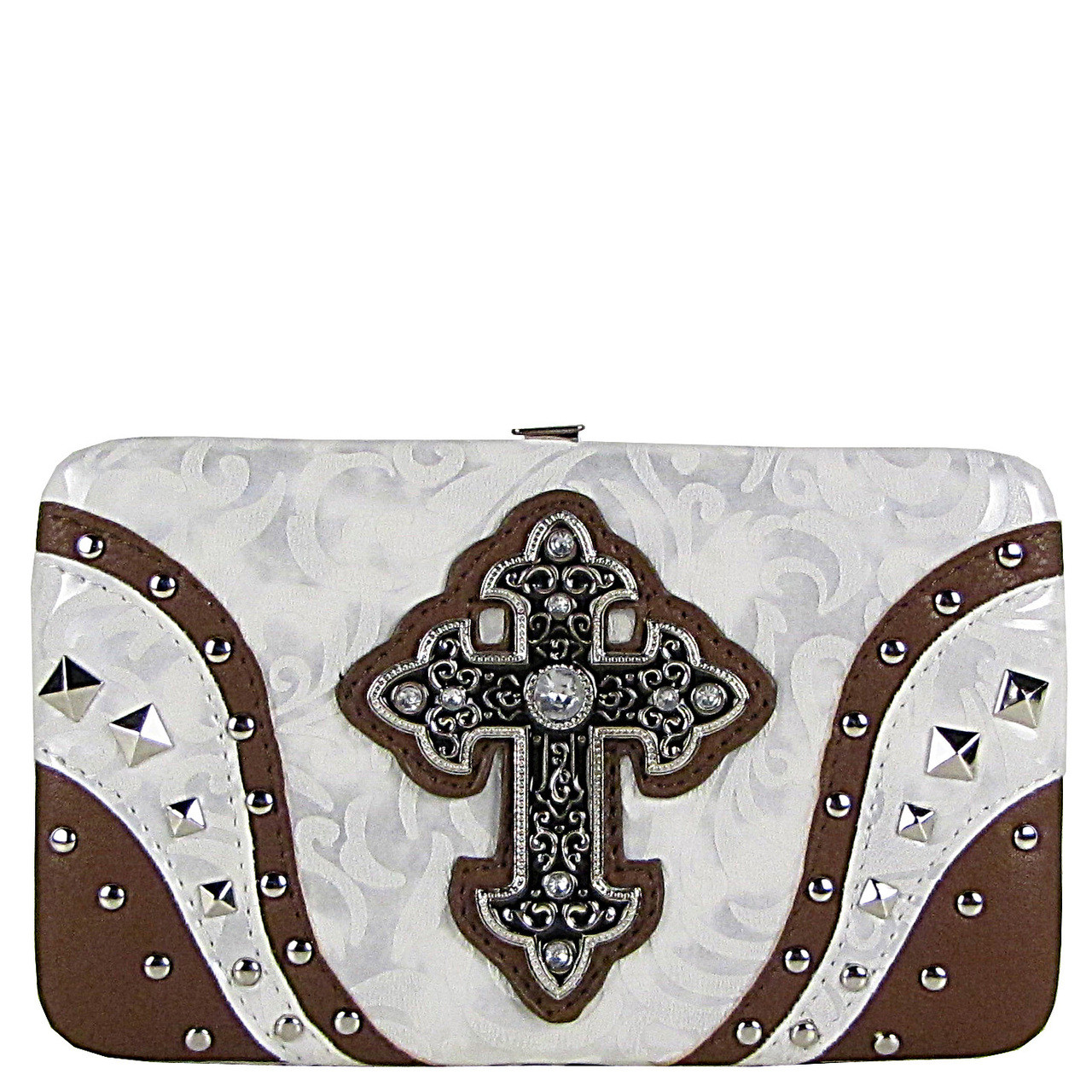 WHITE STUDDED RHINESTONE TOOLED CROSS LOOK FLAT THICK WALLET FW2-04113WHT
