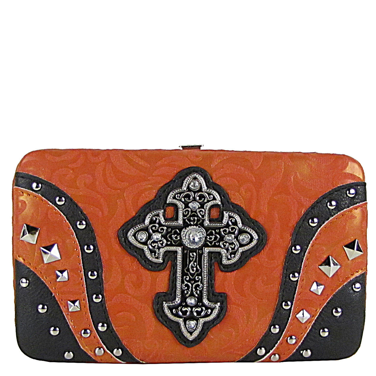 CORAL STUDDED RHINESTONE TOOLED CROSS LOOK FLAT THICK WALLET FW2-04113CRL