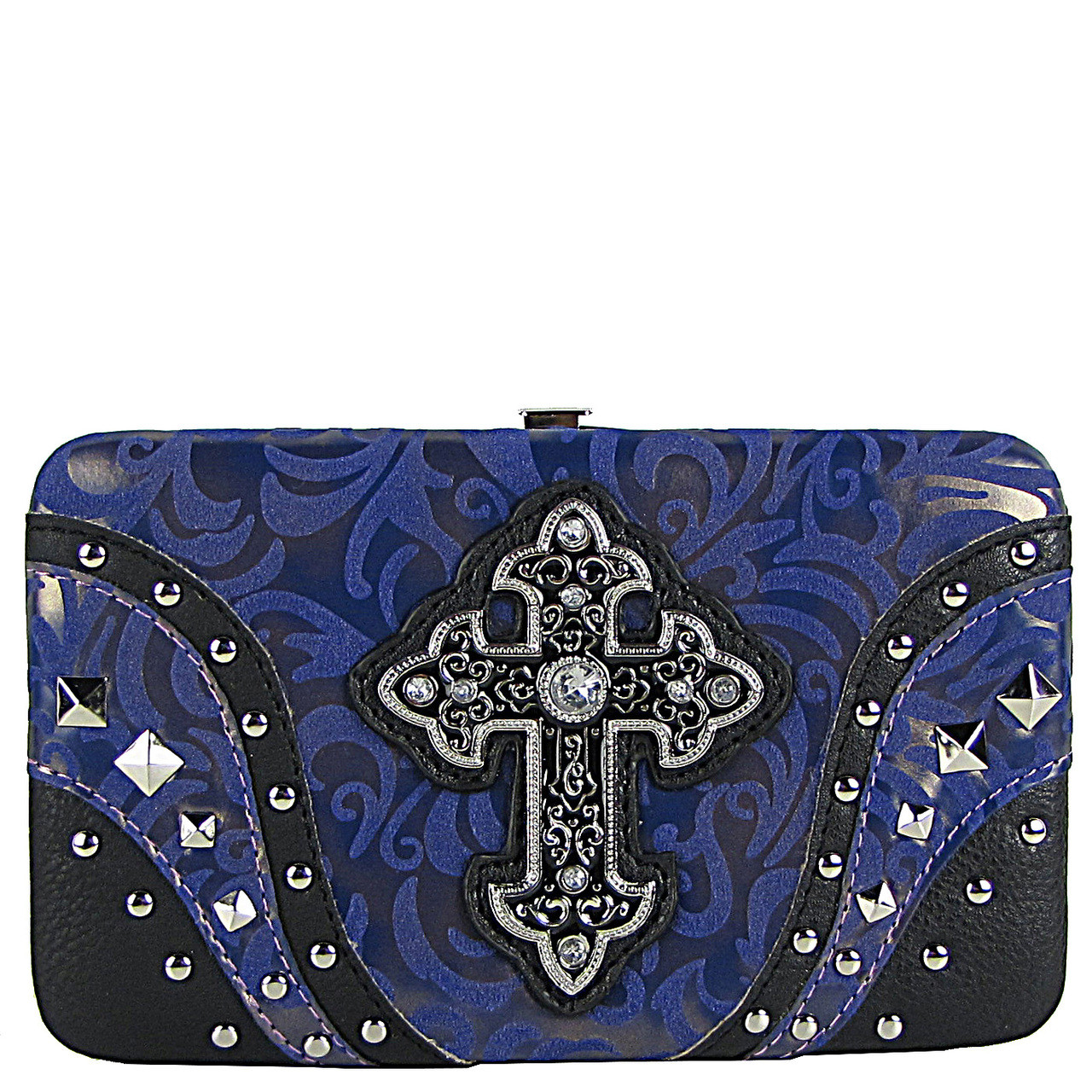 PURPLE STUDDED RHINESTONE TOOLED CROSS LOOK FLAT THICK WALLET FW2-04113PPL