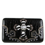 BLACK CROC ZEBRA MALTESE CROSS LOOK FLAT THICK WALLET FW2-0402BLK