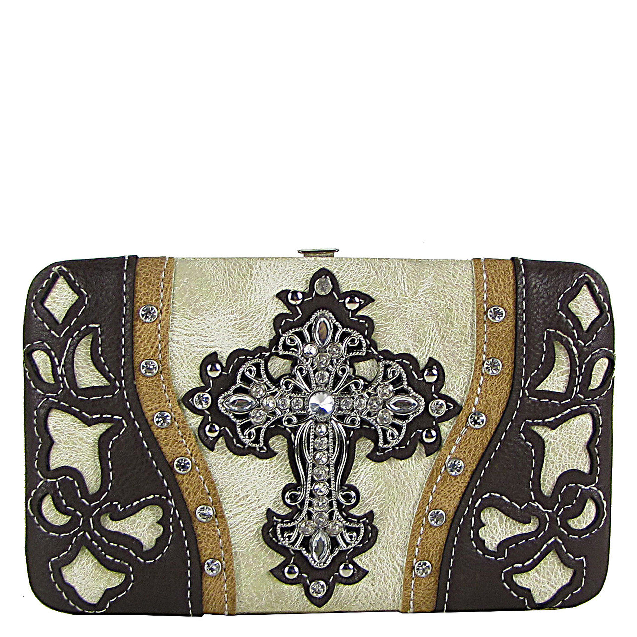 BEIGE WESTERN LASER CUT CROSS DESIGN FLAT THICK WALLET FW2-0401BEI