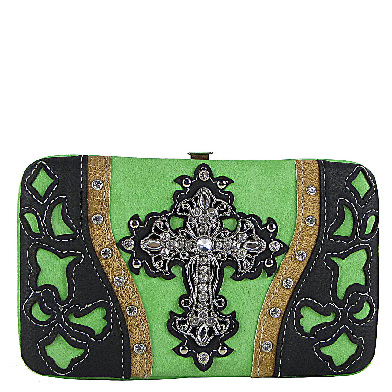 GREEN WESTERN LASER CUT CROSS DESIGN FLAT THICK WALLET FW2-0401GRN