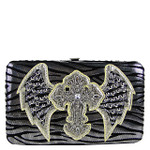 SILVER ZEBRA STITCHED WINGED CROSS FLAT THICK WALLET FW2-04111SLV