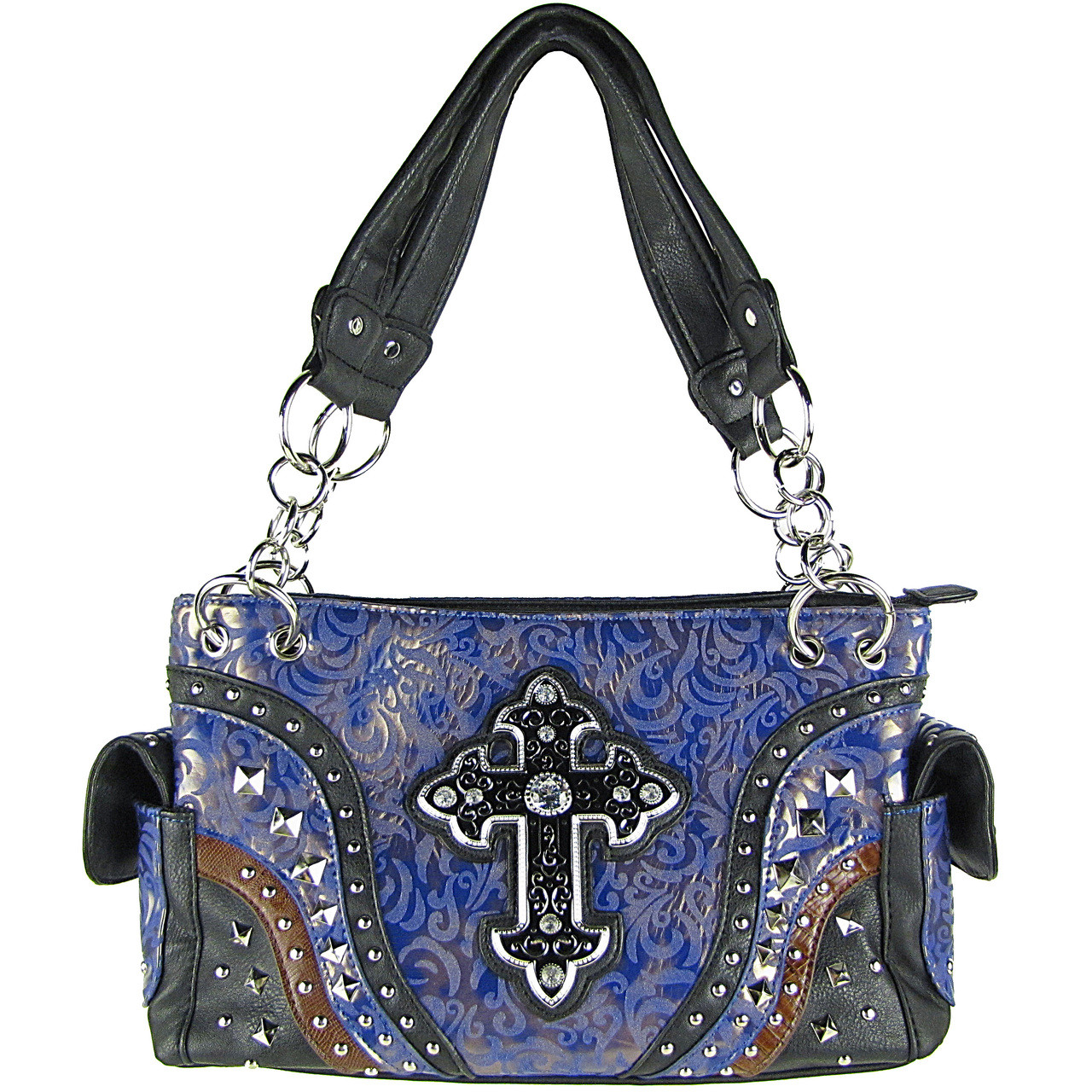 PURPLE METALLIC PAISLEY STUDDED RHINESTONE CROSS LOOK SHOULDER HANDBAG HB1-90LCRPPL