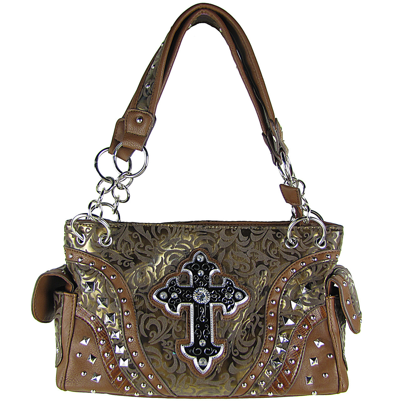 BROWN METALLIC PAISLEY STUDDED RHINESTONE CROSS LOOK SHOULDER HANDBAG HB1-90LCRBRN