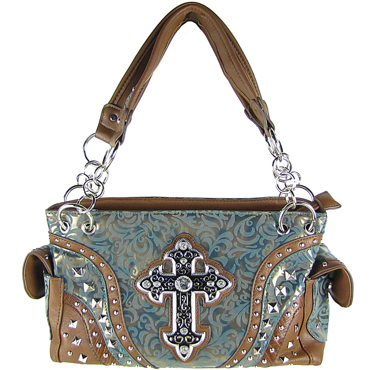 TEAL METALLIC PAISLEY STUDDED RHINESTONE CROSS LOOK SHOULDER HANDBAG HB1-90LCRTEL