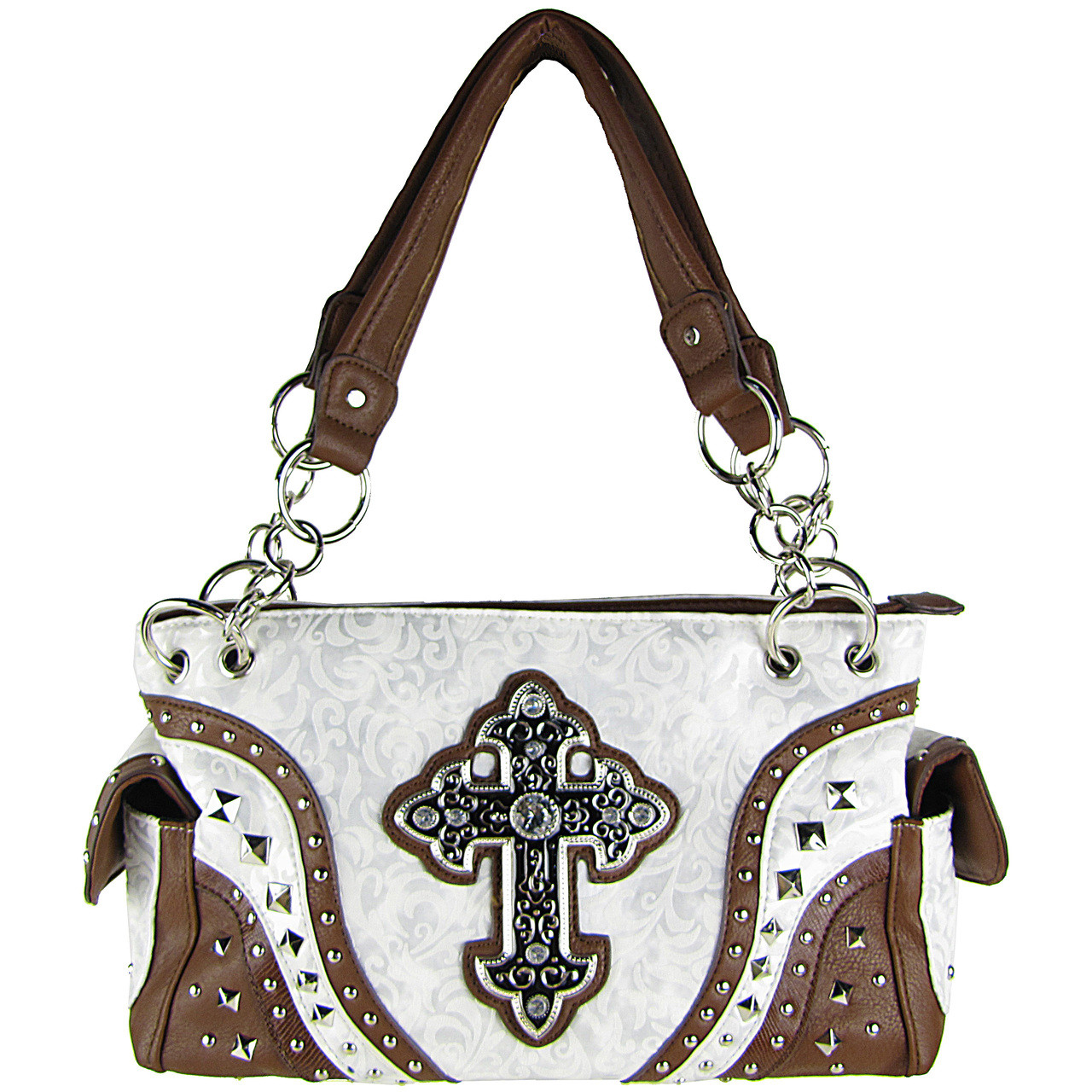 WHITE METALLIC PAISLEY STUDDED RHINESTONE CROSS LOOK SHOULDER HANDBAG HB1-90LCRWHT