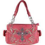 HOT PINK STUDDED RHINESTONE CROSS  LOOK SHOULDER HANDBAG HB1-60LCRHPK