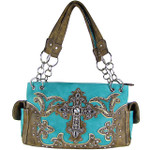 TURQUOISE STUDDED RHINESTONE CROSS  LOOK SHOULDER HANDBAG HB1-60LCRTRQ