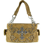 TAN STUDDED RHINESTONE CROSS  LOOK SHOULDER HANDBAG HB1-60LCRTAN