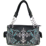 TURQUOISE STUDDED RHINESTONE CROSS  LOOK SHOULDER HANDBAG HB1-60LCR-1TRQ