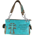 TURQUOISE BIBLE VERSE STUDDED RHINESTONE CROSS  LOOK SHOULDER HANDBAG HB1-CRALLTRQ