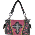 PURPLE WESTERN RHINESTONE CROSS LOOK SHOULDER HANDBAG HB1-43LCRPPL