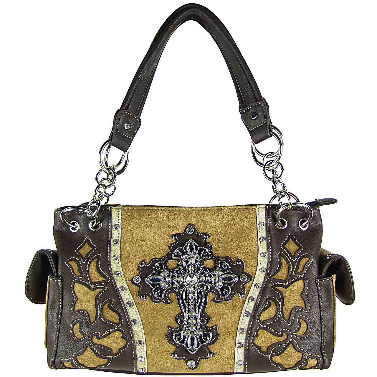 TAN WESTERN RHINESTONE CROSS LOOK SHOULDER HANDBAG HB1-43LCRTAN