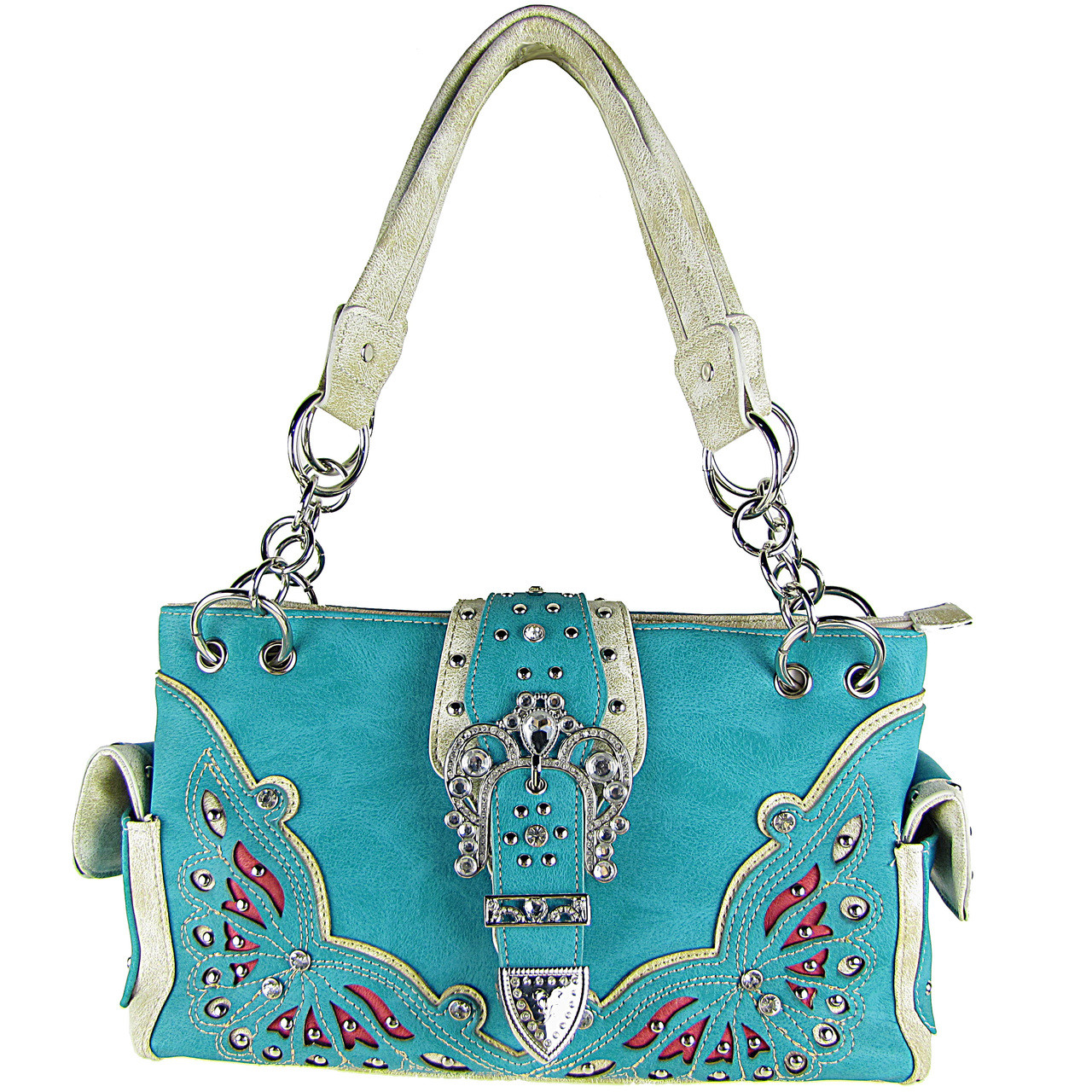 TURQUOISE RHINESTONE BUCKLE LOOK SHOULDER HANDBAG HB1-39W70TRQ