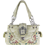 BEIGE RHINESTONE BUCKLE LOOK SHOULDER HANDBAG HB1-39W70BEI
