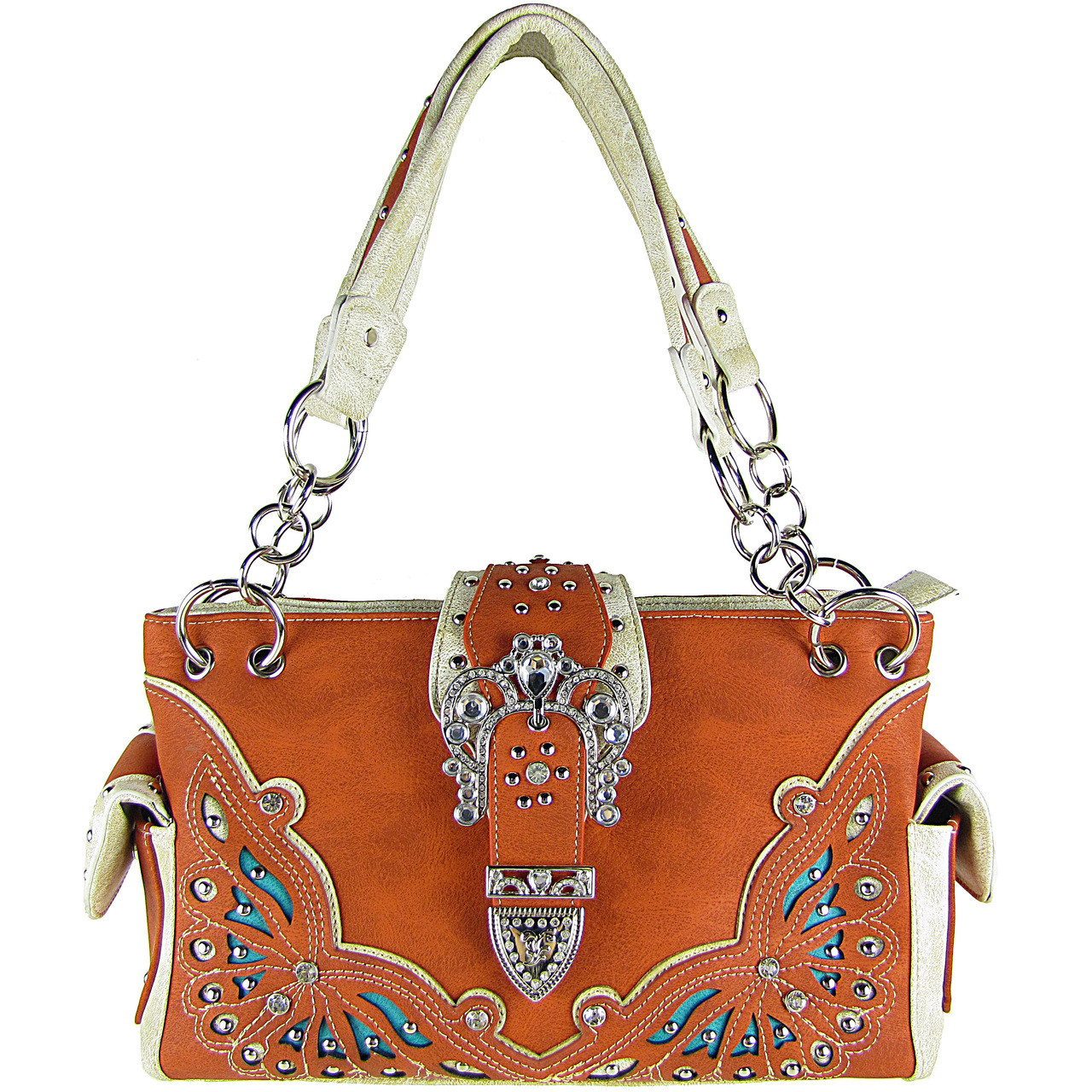 ORANGE RHINESTONE BUCKLE LOOK SHOULDER HANDBAG HB1-39W70ORG