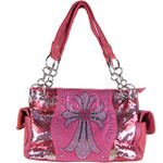 HOT PINK SEQUENCE RHINESTONE CROSS LOOK SHOULDER HANDBAG HB1-39LCRHPK