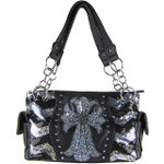 SILVER SEQUENCE RHINESTONE CROSS LOOK SHOULDER HANDBAG HB1-39LCRSLV