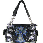 BLACK SEQUENCE RHINESTONE CROSS LOOK SHOULDER HANDBAG HB1-39LCRBLK