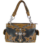 BLACK WESTERN RHINESTONE CROSS LOOK SHOULDER HANDBAG HB1-20CCRBLK