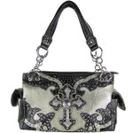SILVER WESTERN RHINESTONE CROSS LOOK SHOULDER HANDBAG HB1-20CCRSLV