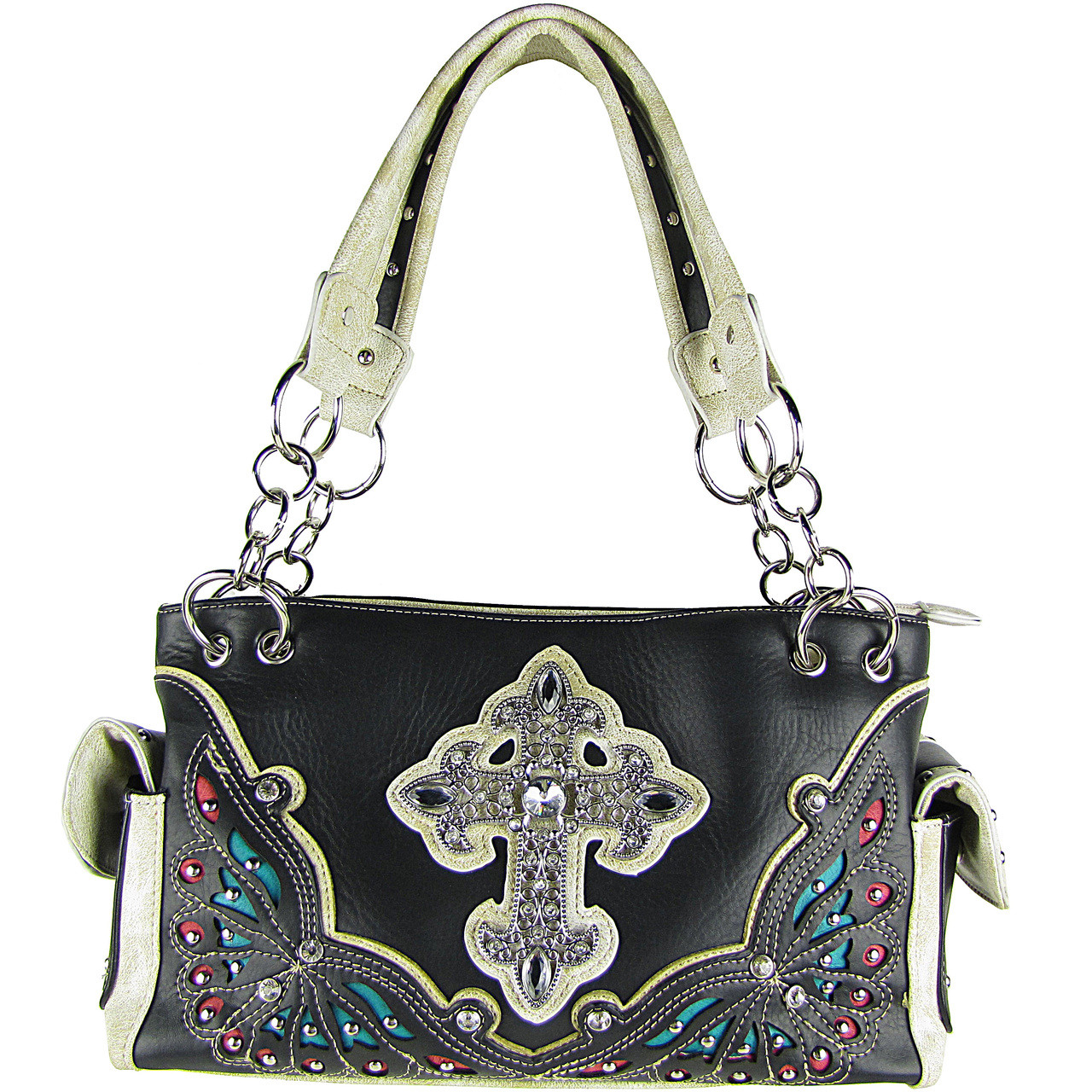 BLACK RHINESTONE CROSS LOOK SHOULDER HANDBAG HB1-70LCRBLK