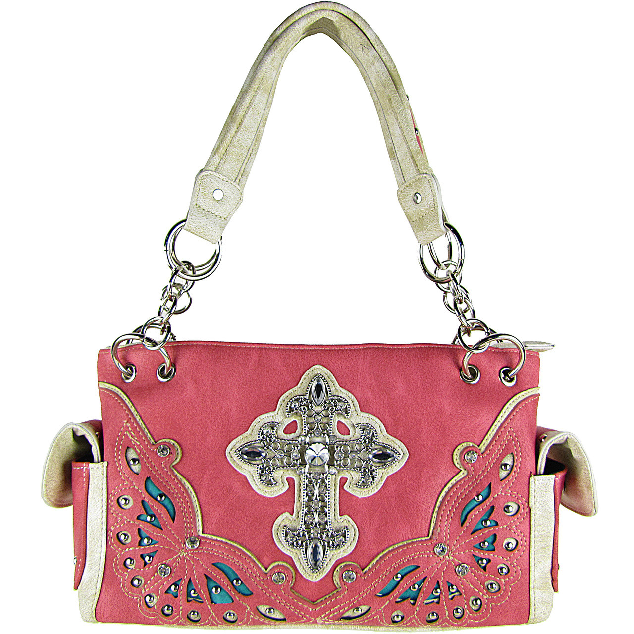 HOT PINK RHINESTONE CROSS LOOK SHOULDER HANDBAG HB1-70LCRHPK