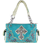 TURQUOISE RHINESTONE CROSS LOOK SHOULDER HANDBAG HB1-70LCRTRQ