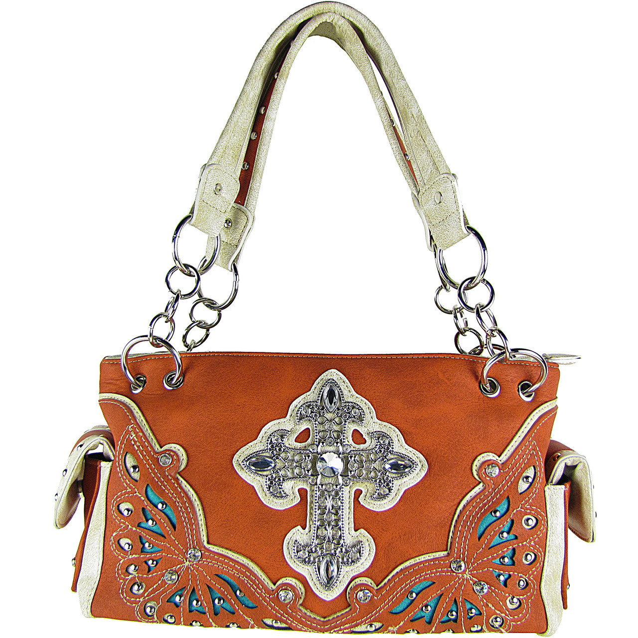 ORANGE RHINESTONE CROSS LOOK SHOULDER HANDBAG HB1-70LCRORG