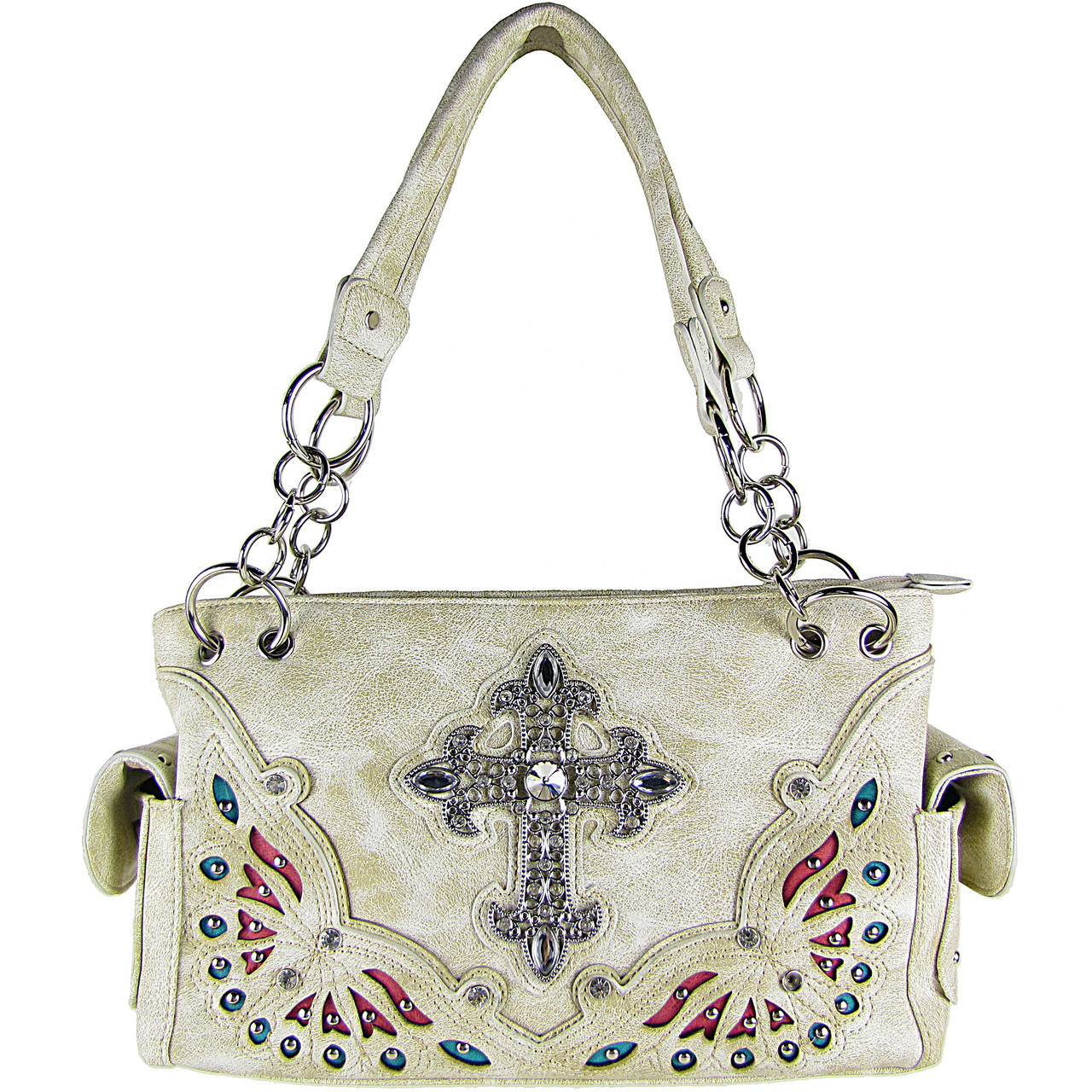 BEIGE RHINESTONE CROSS LOOK SHOULDER HANDBAG HB1-70LCRBEI