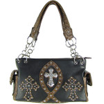 BLACK STUDDED RHINESTONE ICHTHUS CROSS LOOK SHOULDER HANDBAG HB1-9TCR-NBLK