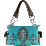 TURQUOISE STUDDED RHINESTONE ICHTHUS CROSS LOOK SHOULDER HANDBAG HB1-9TCR-NTRQ