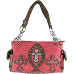HOT PINK STUDDED RHINESTONE ICHTHUS CROSS LOOK SHOULDER HANDBAG HB1-9TCR-NHPK