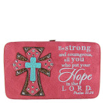 HOT PINK HOPE STUDDED CROSS DESIGN FLAT THICK WALLET FW2-04112HPK