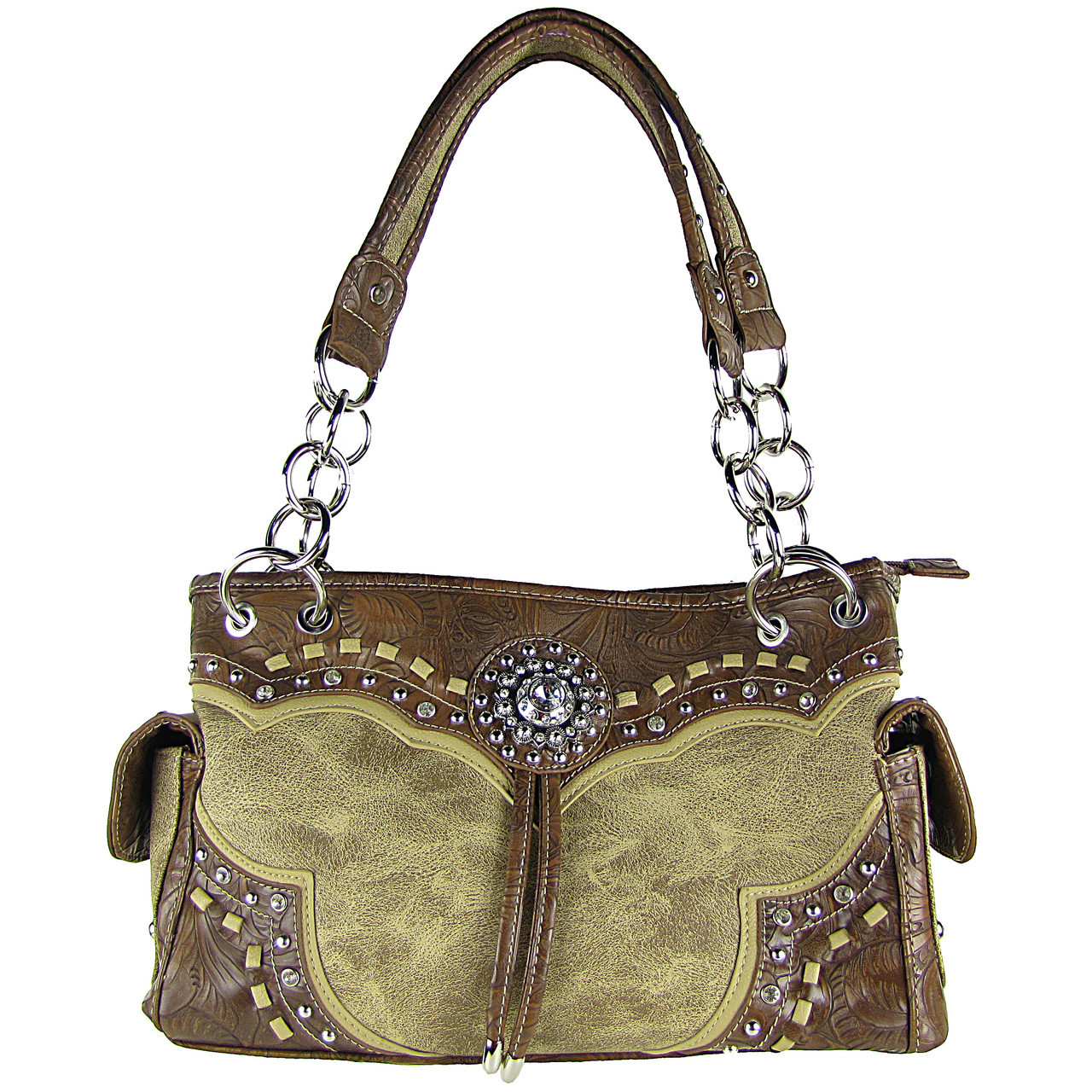 TAN WESTERN STUDDED FLOWER RHINESTONE LOOK SHOULDER HANDBAG HB1-CHF0063TAN