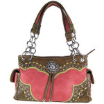 HOT PINK  WESTERN STUDDED FLOWER RHINESTONE LOOK SHOULDER HANDBAG HB1-CHF0063HPK