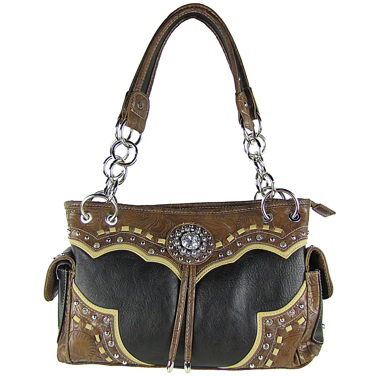 BLACK WESTERN STUDDED FLOWER RHINESTONE LOOK SHOULDER HANDBAG HB1-CHF0063BLK