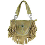 BEIGE RUFFLE RHINESTONE CROSS LOOK SHOULDER HANDBAG HB1-HC0062BEI