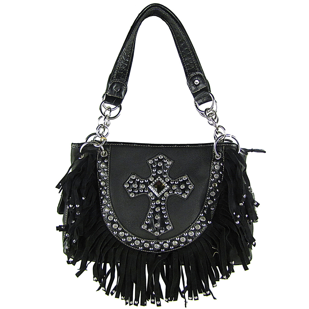 BLACK RUFFLE RHINESTONE CROSS LOOK SHOULDER HANDBAG HB1-HC0062BLK
