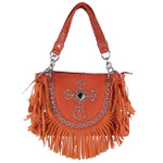 CORAL RUFFLE RHINESTONE CROSS LOOK SHOULDER HANDBAG HB1-HC0062CRL