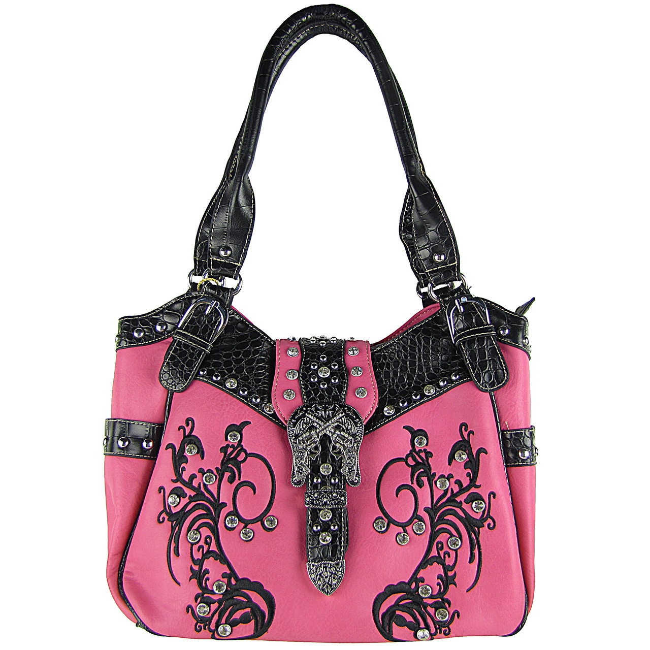 HOT PINK RHINESTONE BUCKLE WITH PISTOLS LOOK SHOULDER HANDBAG HB1-HH404-20HPK