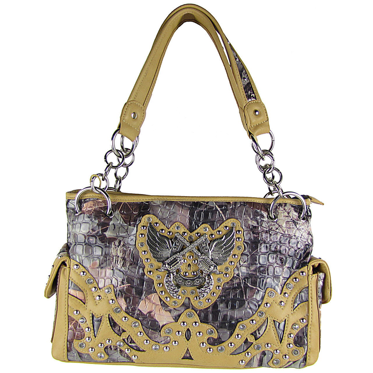 BEIGE CAMO RHINESTONE HORSESHOE WITH WINGS AND PISTOLS LOOK SHOULDER HANDBAG HB1-HH405-10BEI