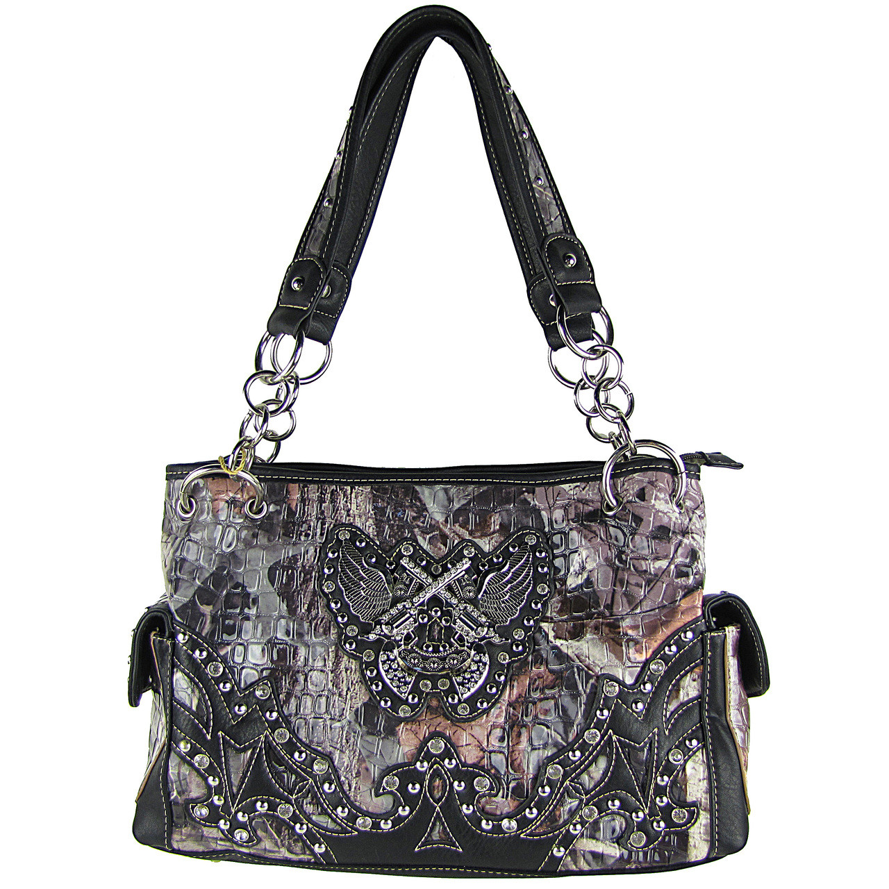 BLACK CAMO RHINESTONE HORSESHOE WITH WINGS AND PISTOLS LOOK SHOULDER HANDBAG HB1-HH405-10BLK