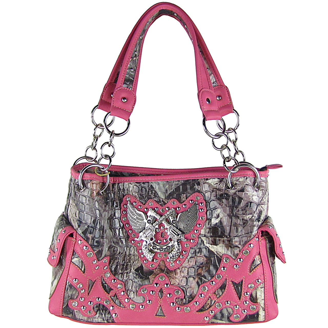 HOT PINK CAMO RHINESTONE HORSESHOE WITH WINGS AND PISTOLS LOOK SHOULDER HANDBAG HB1-HH405-10HPK